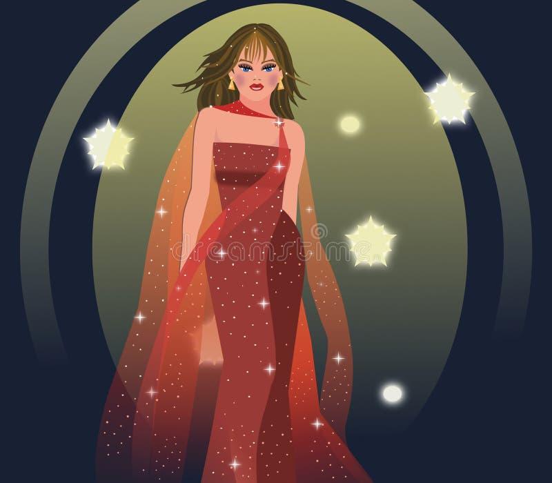 Modeluje na wybiegu z czerwoną wieczór suknią royalty ilustracja