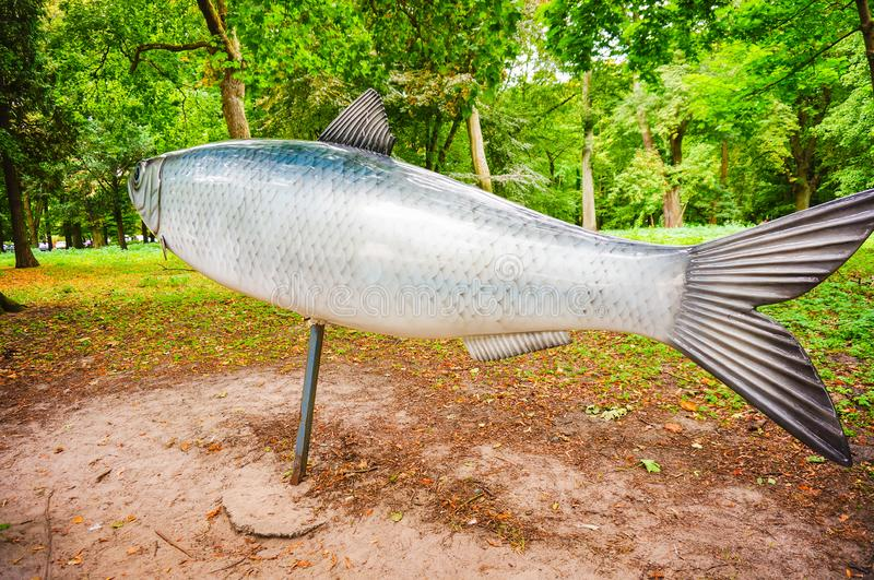 Modelvissen bij park stock foto