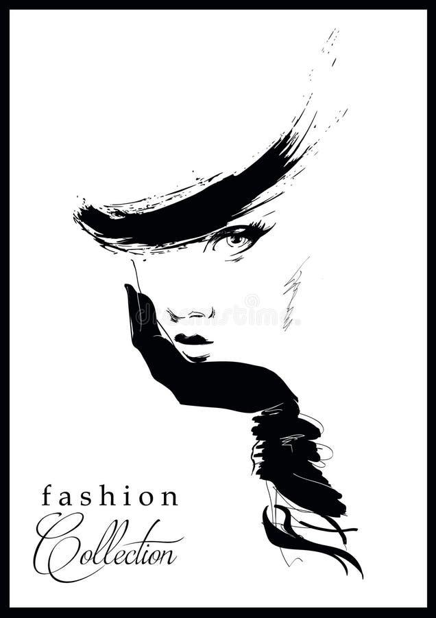 Modemädchen in Skizze-ähnlichem lizenzfreie abbildung