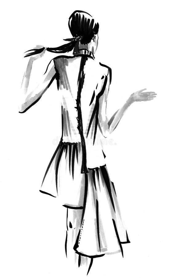 Modemädchen in Skizze-ähnlichem Abbildung lizenzfreie abbildung