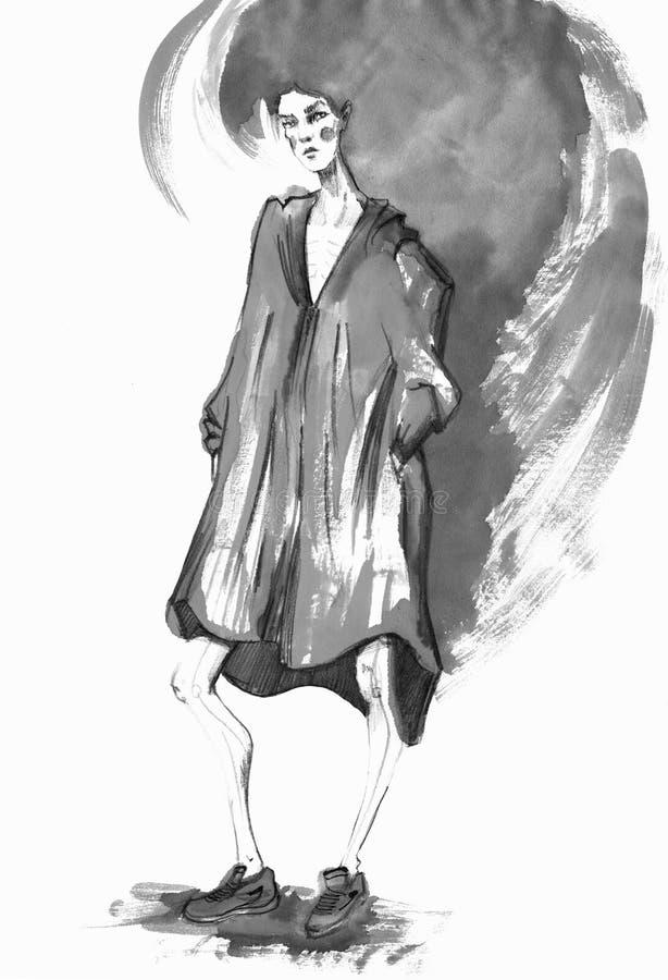 Modemädchen in Skizze-ähnlichem Dekoratives Bild einer Flugwesenschwalbe ein Blatt Papier in seinem Schnabel stock abbildung