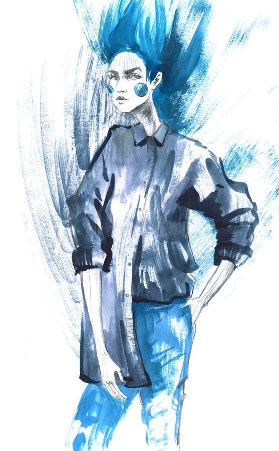 Modemädchen in Skizze-ähnlichem Dekoratives Bild einer Flugwesenschwalbe ein Blatt Papier in seinem Schnabel vektor abbildung