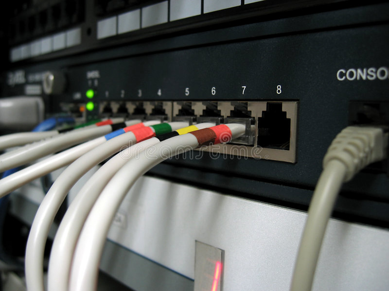 Modem. Rack mounted DSL modem stock photo