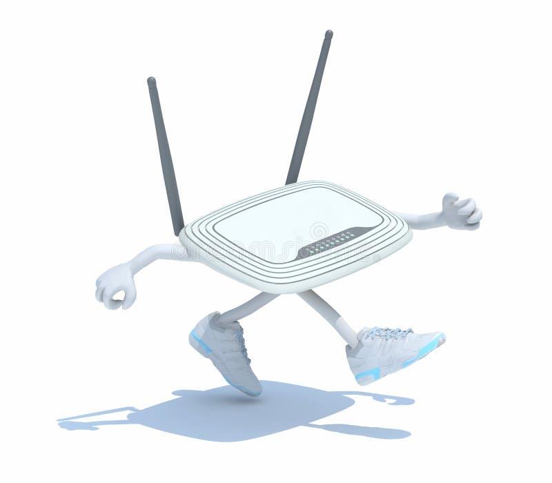 Modem-router met wapens, benen die lopen royalty-vrije stock afbeelding