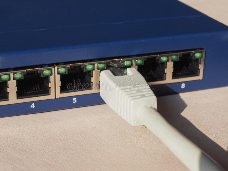 Modem Router Switch With RJ45 Ethernet Plug Ports Stock Photo ...