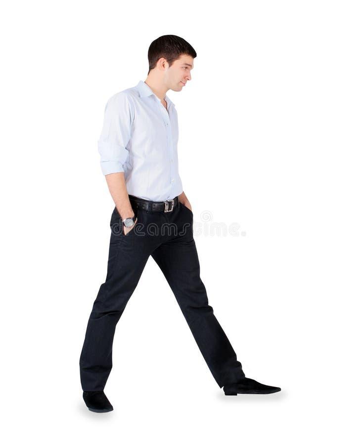 Modeman som står över vit arkivfoto