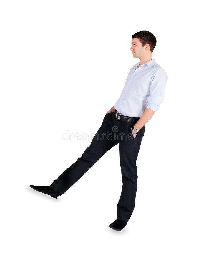 Modeman som står över vit arkivfoton