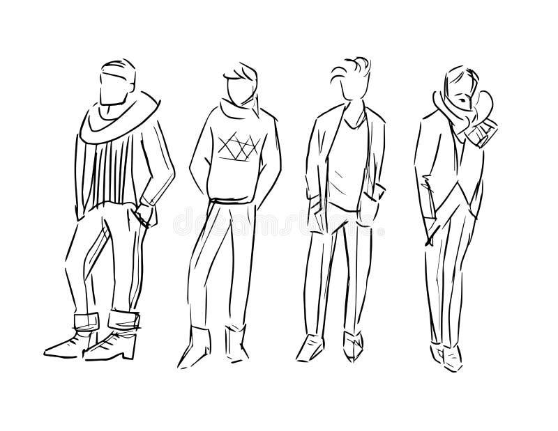 Modemannen skissar illustrationen isolerade uppsättningen vektor illustrationer