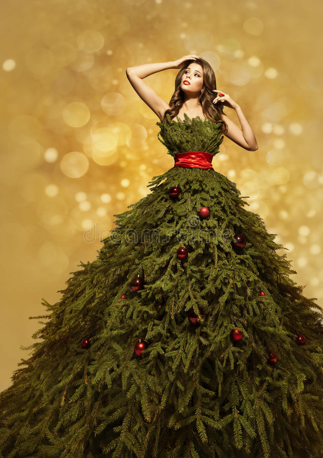 Modemodell Christmas Tree Dress, kvinnaXmas-kappa, nytt år royaltyfria bilder