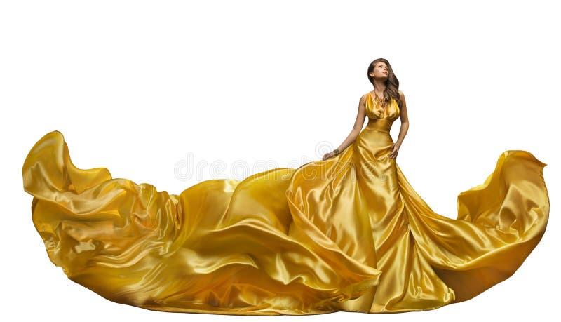 Modemodell Dress, kvinnadans i den långa kappan, vinkande guld- Sil royaltyfri bild