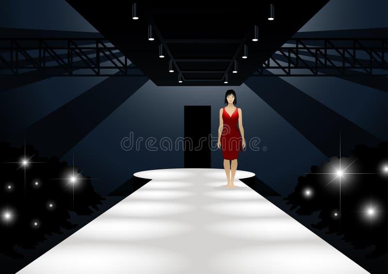 Modemodell i den röda klänningen som går ner en catwalk royaltyfri illustrationer