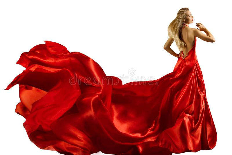 Modemodell Long Red Dress, kvinna i den vinkande kappan, full längdskönhetstående på vit royaltyfria bilder