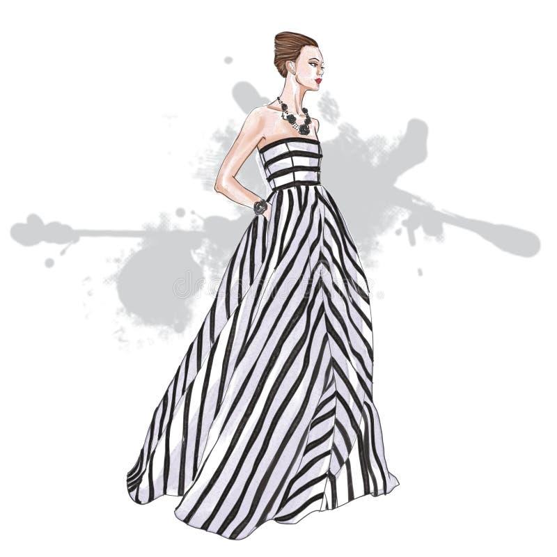 modemodell som bär den randiga långa klänningen royaltyfri illustrationer