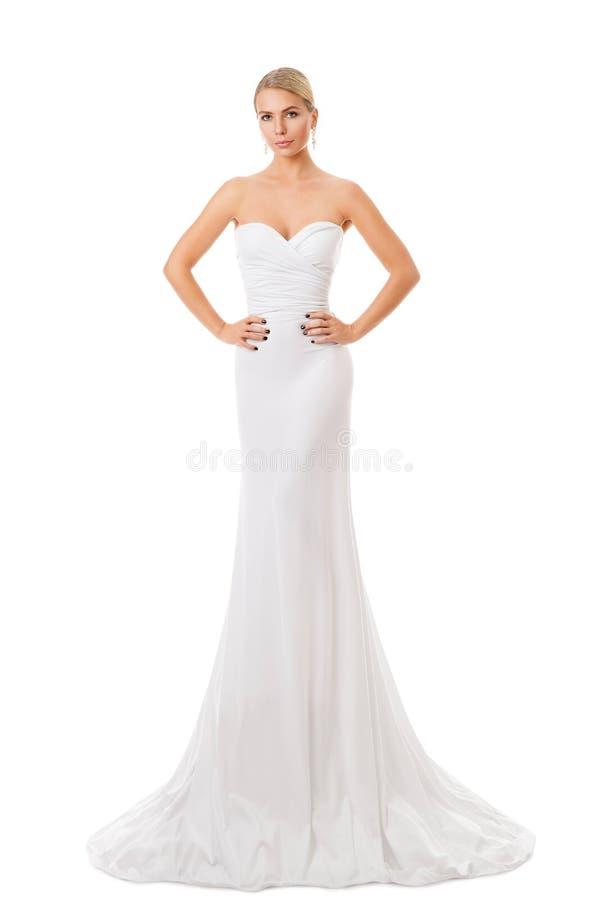 Modemodell White Dress, elegant kvinna i den långa kappan, ung flickaskönhetstående royaltyfri fotografi