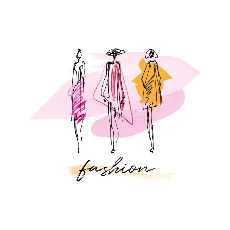 Modemodeller räcker dragit skissar, stiliserade färgpulverkonturer som isoleras på vit bakgrund stock illustrationer