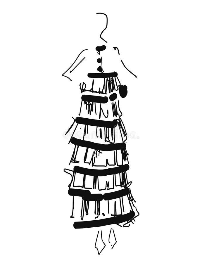 Modemodeller skissar den drog handen, isolerade stiliserade konturer tecknad filmflicka i kl?nning royaltyfri illustrationer