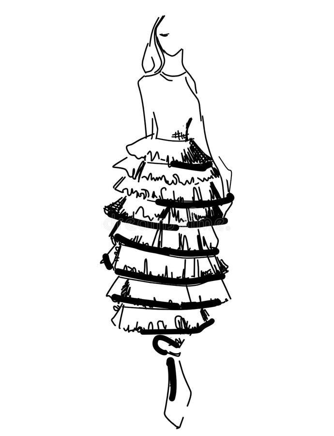 Modemodeller skissar den drog handen, isolerade stiliserade konturer tecknad filmflicka i kl?nning stock illustrationer