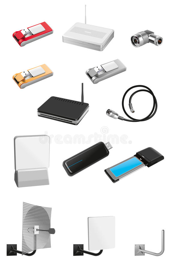 Modems and communication equipment stock photography