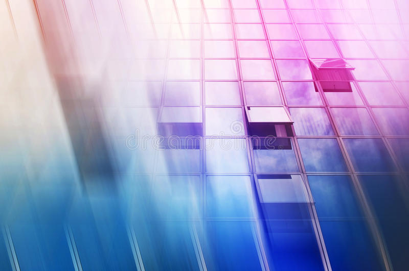Moden Office Building Abstract as Blur Business Background. Blue Glass Facade with Geometric Lines royalty free stock images