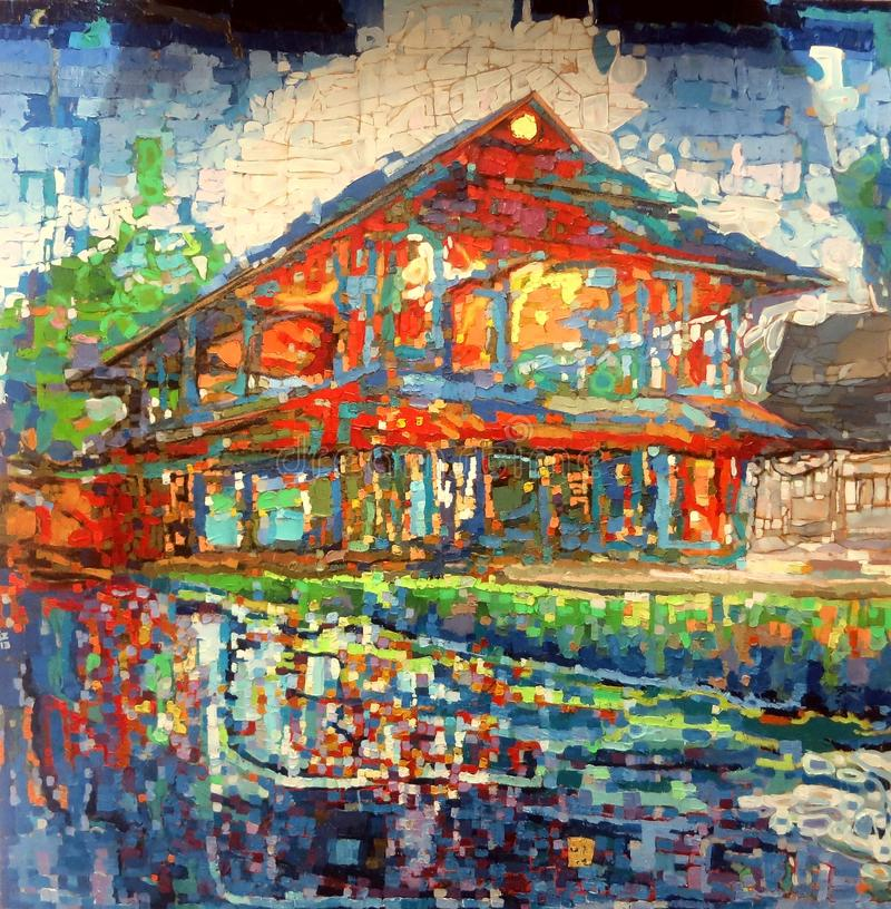 Moden Red house abstract oil closeup texture painting. vector illustration