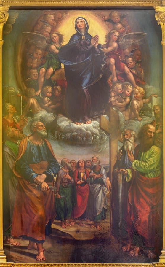 MODENA, ΙΤΑΛΊΑ - 14 ΑΠΡΙΛΊΟΥ 2018: Η υπόθεση της Παρθένου Μαρίας στην εκκλησία Chiesa di San Pietro στοκ εικόνα