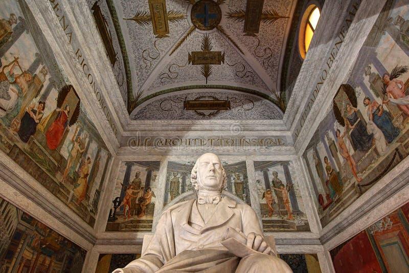 Modena Emilia Romagna, Italien, Luigi Poletti monument i det Estense museet, Unesco-världsarv royaltyfria bilder