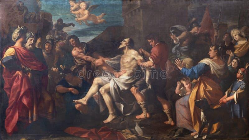 MODENA, ITALIA - 14 APRILE 2018: Il quadro del martirio di San Bartolomeo l'apostolo nella chiesa di San Bartolomeo fotografia stock libera da diritti