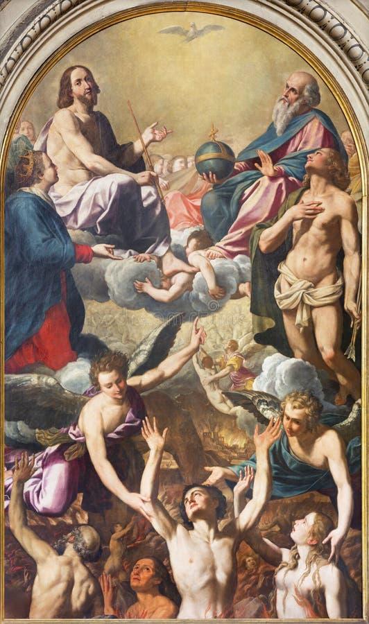 MODENA ITALIEN - APRIL 14, 2018: Målningen av den heliga Treenighet, den jungfruliga Maryen, Sten Sebastinan och andan i skärseld arkivfoto