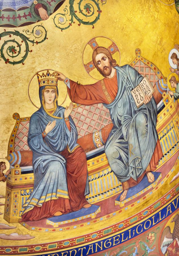 MODENA, ITALY - APRIL 14, 2018: The Coronation of Virgin Mary fresco in byzantine style in main apse of Duomo. By Forti and Migliorini from 19. cent royalty free stock image