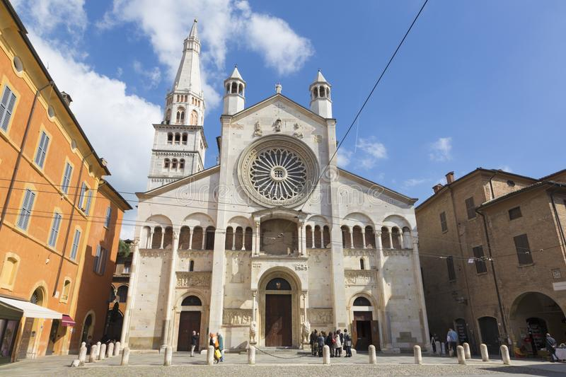 MODENA, ITALY - APRIL 14, 2018: The west facade of Duomo Cattedrale Metropolitana di Santa Maria Assunta e San Geminiano.  royalty free stock photo