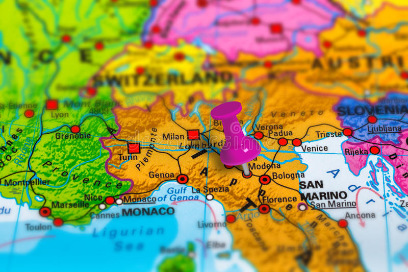 Modena Italy map. Modena in Italy pinned on colorful political map of Europe. Geopolitical school atlas. Tilt shift effect royalty free stock images
