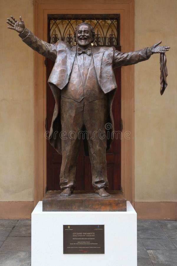 MODENA, ITALY, OCTOBER 2017 - Inauguration of the monument to Luciano Pavarotti. Luciano Pavarotti bronze monument, Modena, Italy royalty free stock photography