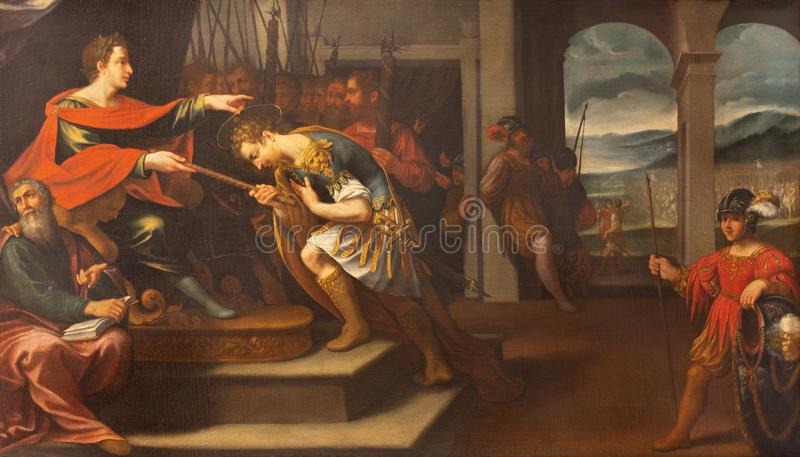 MODENA, ITALY: The painting from live and martyrdom of St. Sebastian in church Chiesa di Santa Maria della Pomposa. MODENA, ITALY - APRIL 14, 2018: The painting stock photo
