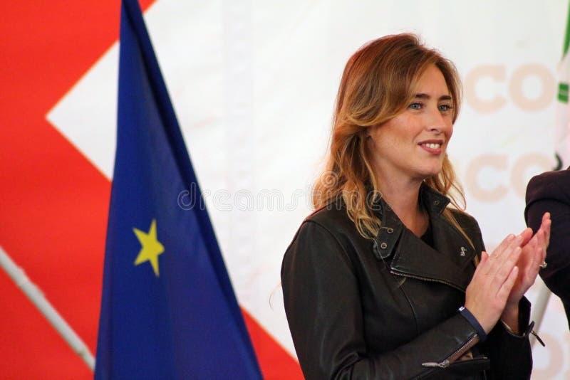 MODENA, Włochy, WRZESIEŃ, 2016: Maria Elena Boschi, jawny społeczeństwo konferencyjny Demokratyczny zjazd partii zdjęcie royalty free