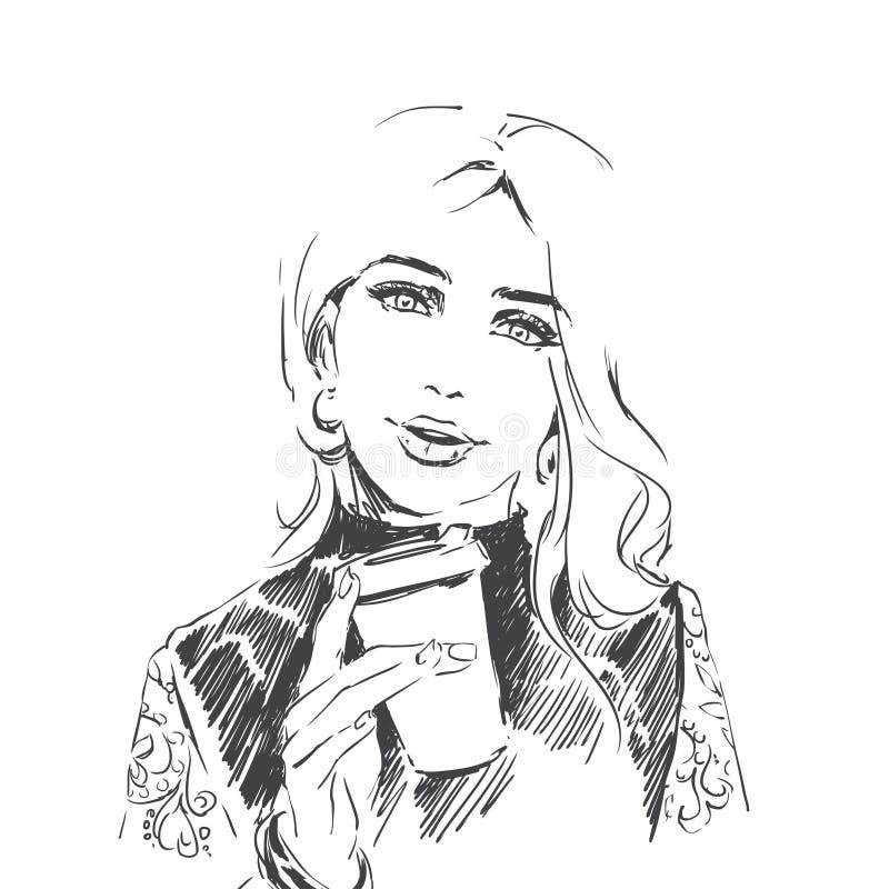 Modeporträt des Holdingtasse kaffees der jungen Frau Linie Kunstillustration, Skizze lizenzfreie abbildung