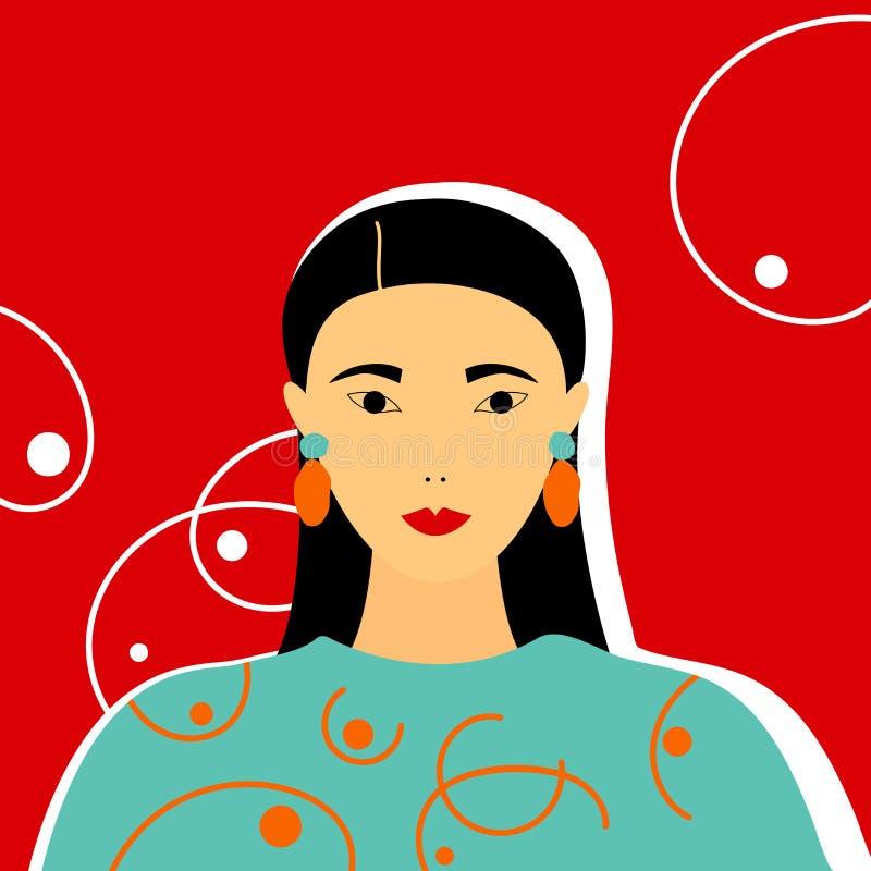 Modeporträt des Mädchens gekleidet in einem Sweatshirt Modische Illustration lizenzfreie abbildung