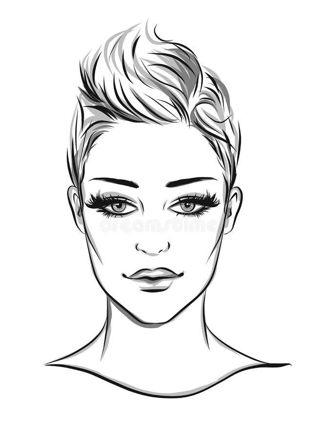 Modeporträt lineart Illustration lizenzfreie abbildung