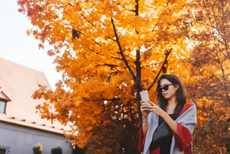 Modeportr?t der Sch?nheit im Herbstpark stockfotos