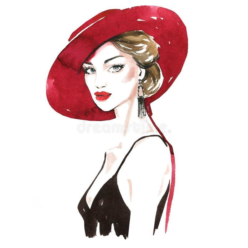 Modeportr?t einer stilvollen Dame Helles Lippenstift-Make-up Stilvolle junge Frau Schuhe und Handtasche stock abbildung