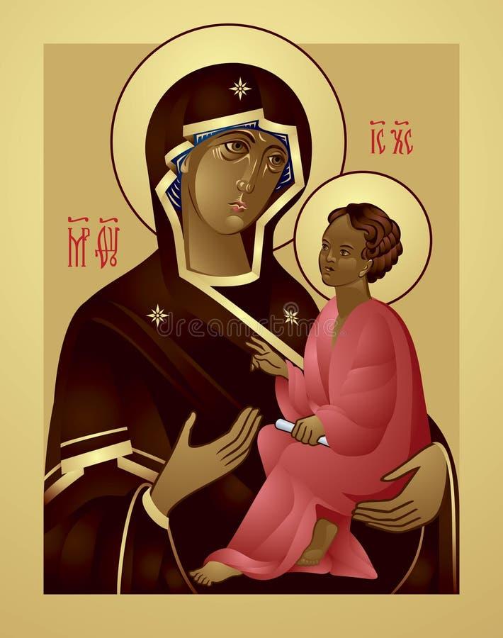 Moder av guden och Jesus Christ Icon royaltyfri illustrationer