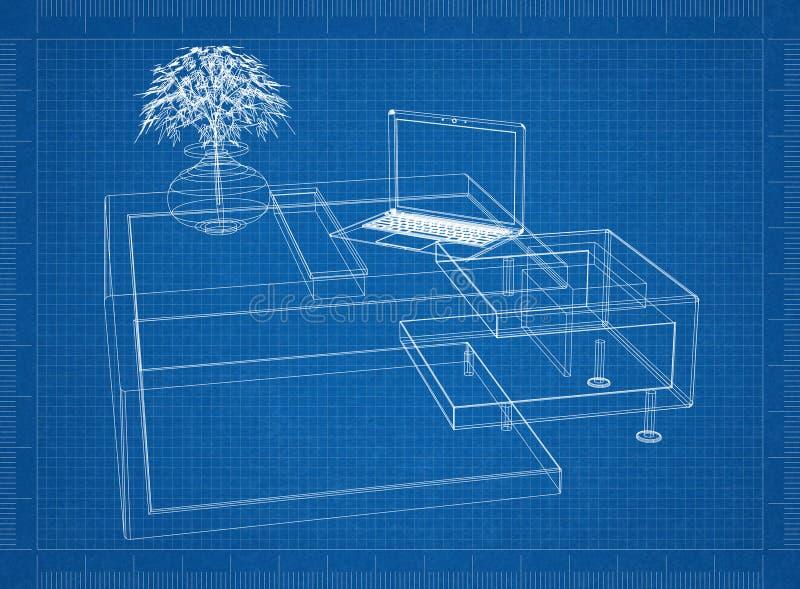 Moder computer table 3D blueprint stock illustration