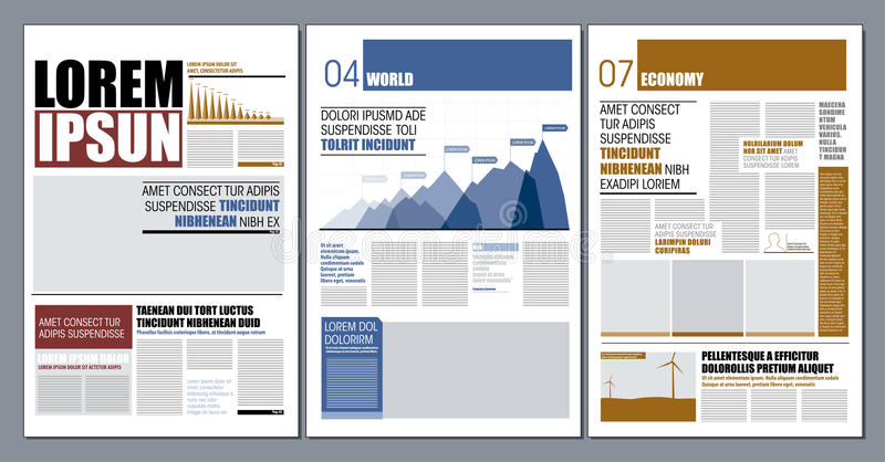 Moder design newspaper. Graphical layout modern colorful newspaper template for editorial publications stock illustration