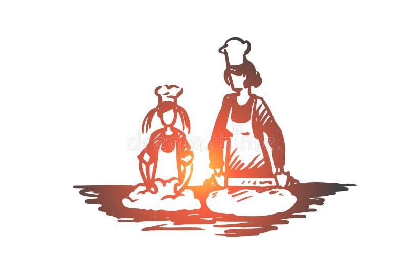 Moder dotter, matlagning, barnuppfostranbegrepp Hand dragen isolerad vektor royaltyfri illustrationer