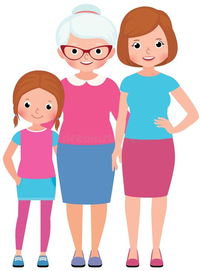 Moder för familjståendedotter och utveckling för farmor tre vektor illustrationer
