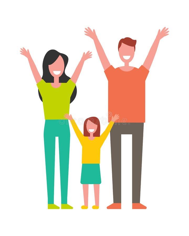 Moder fader, stigande händer för dotter upp hälsningar royaltyfri illustrationer