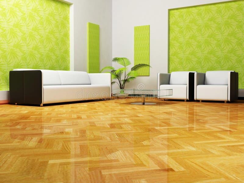 Moder interior design of living room, 3d render royalty free illustration