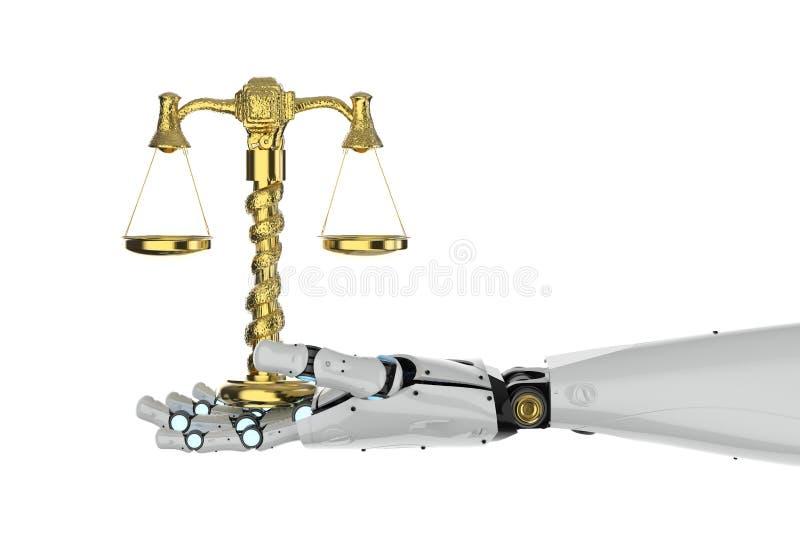 Moder-Laptop mit hölzernem Hammer auf einem weißen Hintergrund vektor abbildung