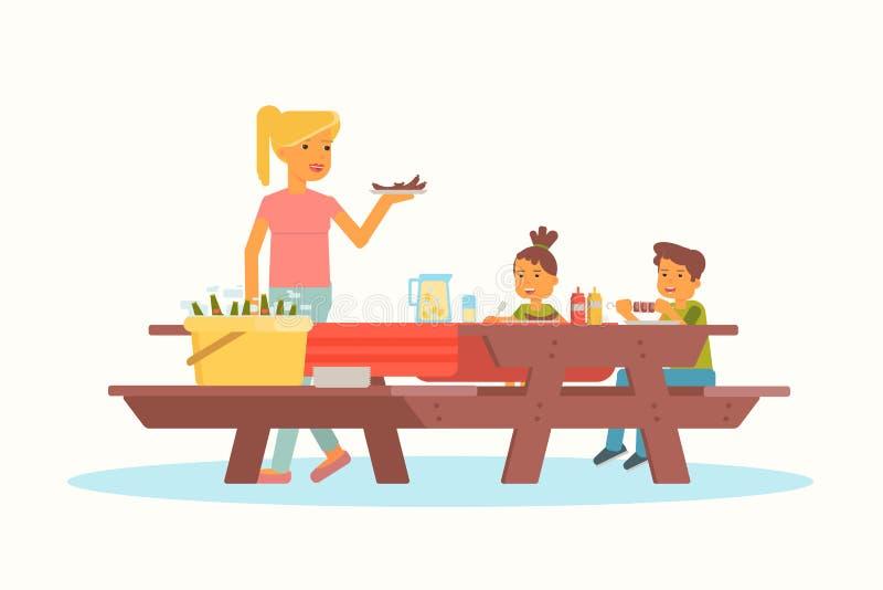 Moder med barn på picknickvektorillustration royaltyfri illustrationer