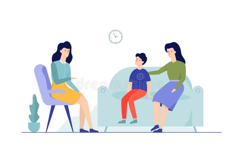 Moder med barnet som sitter p? soffan som talar till kvinnlign vektor illustrationer