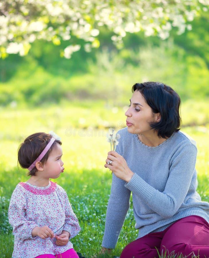 Moder med den lilla dottern som blåser till maskrosen arkivfoton